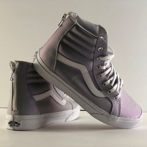 Vans Leather Zipper Back High Top Sneakers